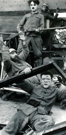 Chaplin, Bergman and Austin in Shoulder Arms